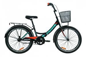 """Велосипед 24"""" Formula SMART с багажником зад St, с крылом St, с корзиной St 2020 (черно-оранжевый с бирюзовым (м))"""
