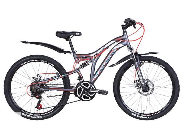 """купить бу Велосипед двухподвесный подростковый 24"""" Discovery Rocket DD 2021 графитово белый с красным в Запорожье"""