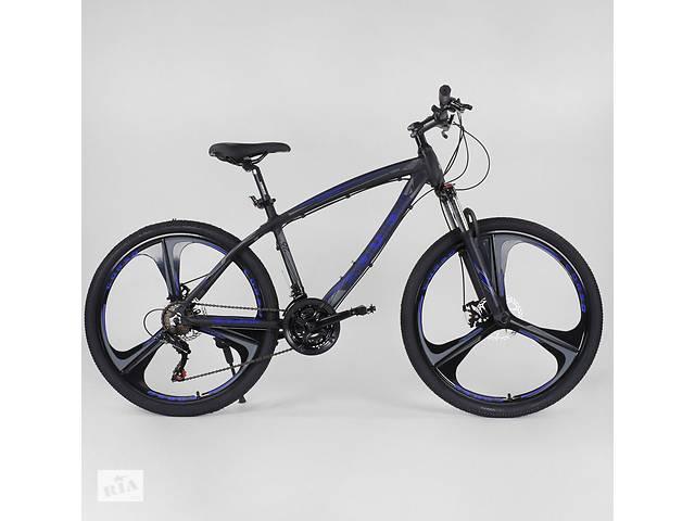 """продам Велосипед спортивный CORSO EVOLUTION 26"""", Чёрно-синий, рама алюминиевая 17"""", литые диски, 24 скорости, 95838 бу в Днепре (Днепропетровск)"""