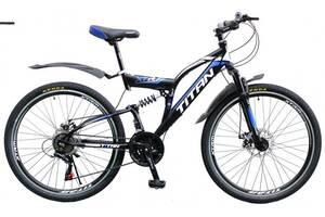 """Велосипед Titan Panther 26"""" 18"""" Чёрный-Голубой-Белый"""