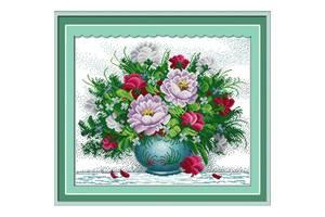 """Вишивка хрестиком """"Яскраві квіти"""" 2 60х52см H158"""