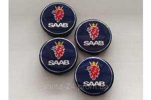 Колпачки заглушки в литые диски Saab 57/53/9 мм. Синие