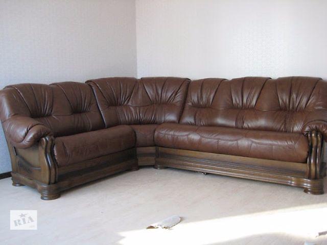 купить бу Шкіряний кутовий диван Alcor модель Граф в зеленому кольорі 2н+уг+3р в Києві
