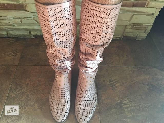 купить бу Літні чоботи перфоровані натуральна шкіра пудра ніжно-рожеві в  Києві 2bd3f005f0829