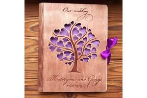 Деревянный фотоальбом А4 с любыми надписями