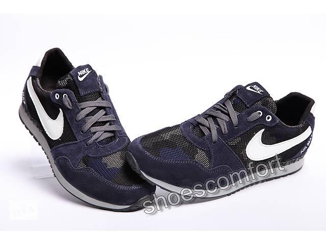 ed4ebcbf купить бу Кожаные кроссовки Nike Air Max темно - синие с сеткой в  Вознесенске