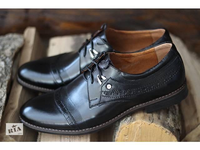 82863afde4083f Vivaro 785/20 чорні чоловічі туфлі дербі з натуральної шкіри- объявление о  продаже в