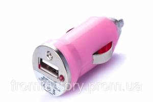 Зарядка автомобильная (1 USB/ 1A) разные цвета:Розовый
