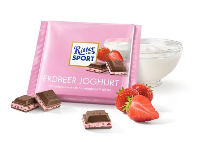 купить бу  Молочный шоколад Ritter Sport с кусочками ягод, клубнично-йогуртовым кремом и хрустящими рисовыми хлопьями в Харькове