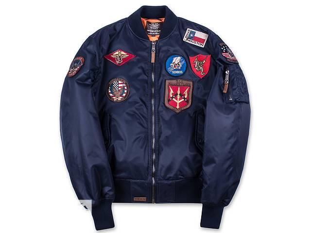 продам Льотна куртка Top Gun MA-1 with Patches (синя) бу в Львове