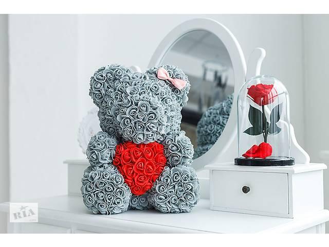 купить бу Мишка из роз 40 см серый в Тернополе