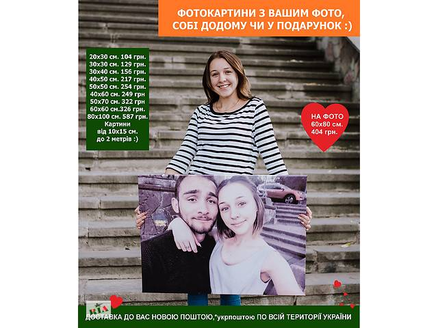 продам Печать фото на холсте. Картины с Вашим фото себе домой или в подарок! бу в Киеве