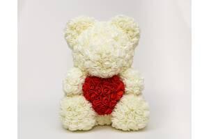 Мишко з троянд 40см - Білий