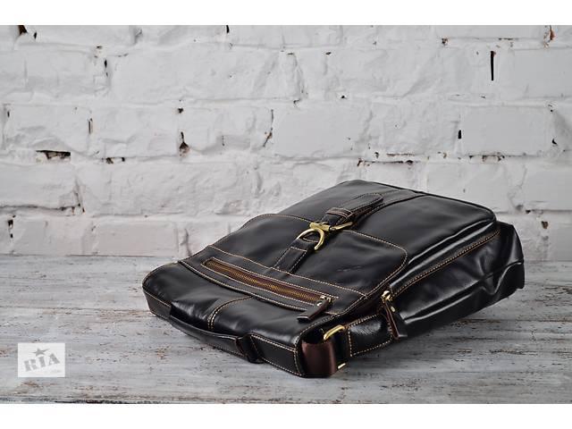 купить бу Мужская деловая сумка-мессенджер в черном цвете.Ручная работа! в Киеве