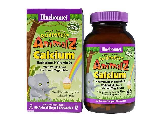 бу Кальций Магний & Витамин D3 для детей Bluebonnet Nutrition Rainforest Animalz Вкус Ванили 90 жевательных конфет в Киеве