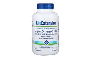 Супер Омега-3 Плюс Life Extension Omega Foundations Super Omega-3 Plus 120 желатинових капсул (LEX19881)