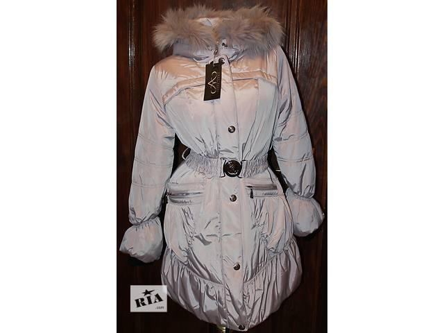 купить бу Пуховик пальто/куртка (44 и 48 размеры, новое, холлофайбер, мех песец) в Бродах (Львовской обл.)