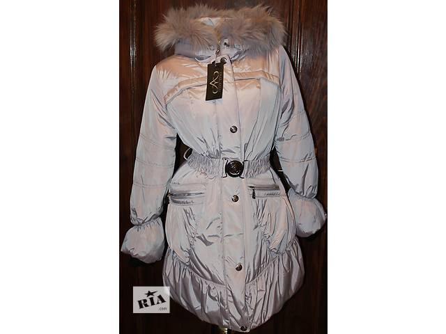 купить бу Пуховик пальто куртка (44 и 48 размеры, новое, холлофайбер, мех песец)  в Бродах (Львовской обл.)