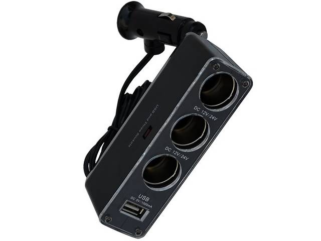 купить бу Разветвитель автоприкуривателя штекер прикуривателя - 3 гнезда прикуривателя + гнездо USB c кабелем в Киеве