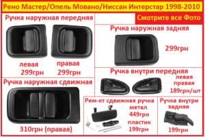 Ручка дверей внутрішня/зовнішня для Renault Master 1998-2010