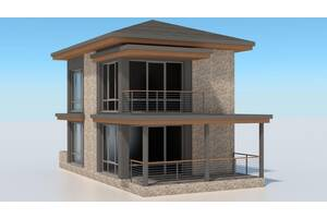 Проект двухэтажного жилого дома 2КЖ-4 м. (050) 178-93-15