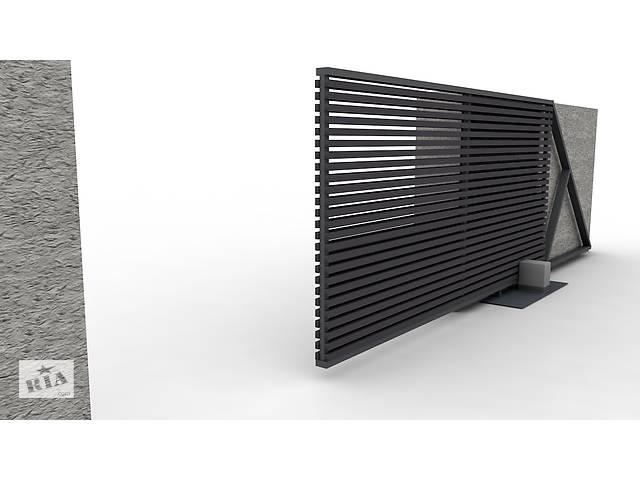 бу Современный дизайн откатных ворот  в Украине