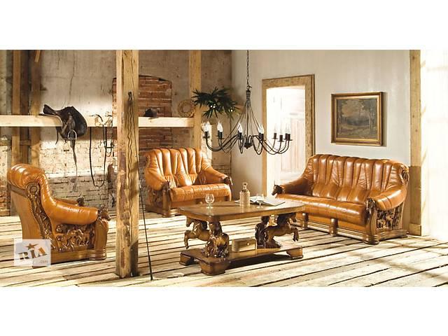 бу шикарний антикварний шкіряний комплект Oskar диван + 2 крісла, шкіра,кожа. в Дрогобыче