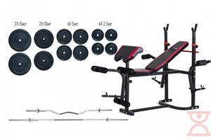 Лава для жиму Hop-Sport + Штанга 87 кг + EZ-гриф
