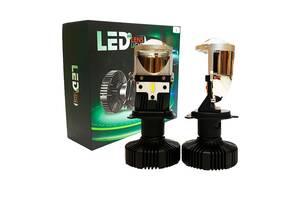 Светодиодные Led лампы h4 с линзой 6500К - мини Bi-Led H4 линза - Гарантия