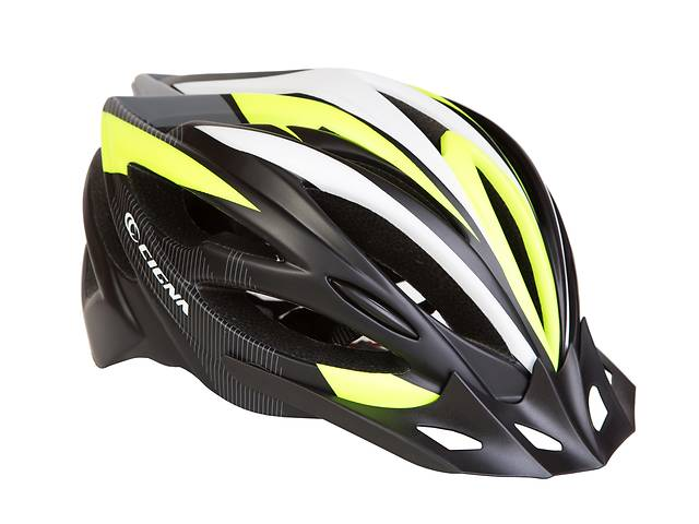 купить бу Шлем велосипедный с козырьком СIGNA WT-068 L (58-61см) (черно-бело-салатный) в Одессе