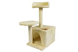 Когтеточка для кошек с домиком и лежанкой Supretto Бежевый (59750001)