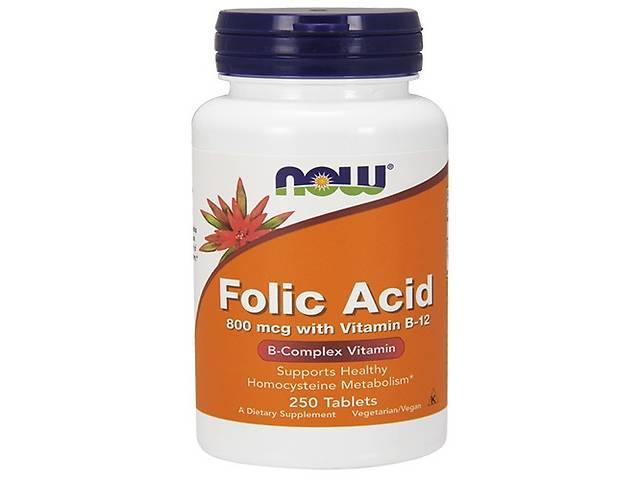 купить бу NOW_Folic Acid 800 мкг with Vitamin B-12 - 250 таб в Дубні